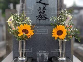 墓前にお供えした向日葵の写真・画像素材[4664913]
