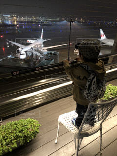 夜景,飛行機,子供,人物,人,航空機,初体験,社会科見学