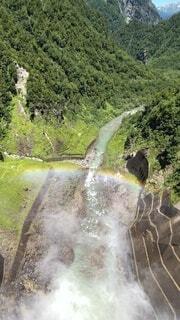 自然,屋外,虹,水面,山,滝,樹木,ダム