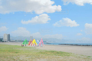 海,空,夏,屋外,ビーチ,カラフル,雲,砂浜,水面,海岸,草