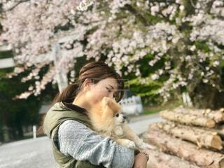犬,花,桜,ポメラニアン,屋外,少女,樹木,お花見,人物,人,抱っこ,愛犬,小型犬,さくら,犬のいる暮らし