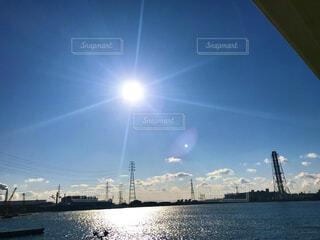 海,空,屋外,湖,太陽,雲,青,船,水面,快晴,オーシャンビュー,水上バイク