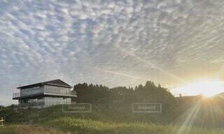 自然,風景,空,屋外,朝日,雲,家,樹木,鱗雲