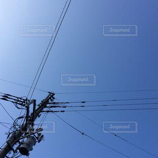 空,屋外,晴れ,晴天,電柱,電線