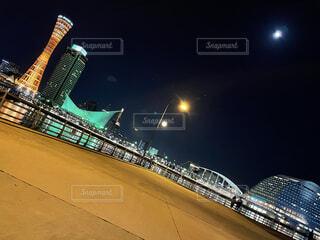 空,夜,屋外,船,都会,明るい