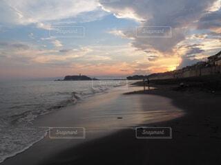 自然,風景,海,空,屋外,湖,太陽,ビーチ,雲,夕暮れ,水面,海岸,湘南,鎌倉