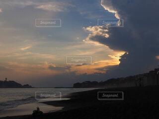 自然,風景,空,屋外,湖,太陽,ビーチ,雲,夕暮れ,水面,湘南,鎌倉