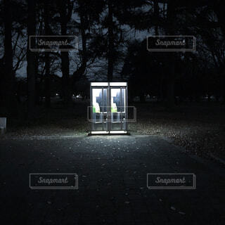 公園,夜,電話ボックス,公衆電話