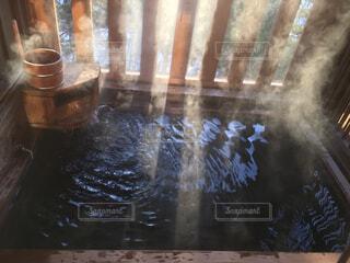 冬,温泉,湖,水面,観光,お風呂,湯気,温泉宿,露天風呂