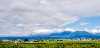 くもり空が広がる富良野の町並みの写真・画像素材[4681086]