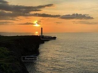 海,夏,夕日,沖縄,旅行,旅,夕陽,ひとり旅,残波岬