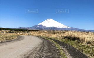 自然,風景,空,富士山,屋外,雲,青空,道路,山,草,大地,快晴
