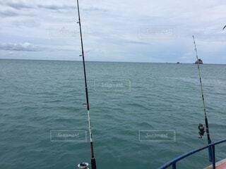 海,空,屋外,ボート,船,水面,釣り,釣り竿