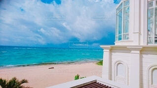 自然,風景,海,空,屋外,ビーチ,雲,島,水面,海岸,教会