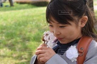 子ども,風景,桜,屋外,少女,草,人物,人,赤ちゃん,幼児,入学,入学式,ランドセル,桜の花,さくら,人間の顔