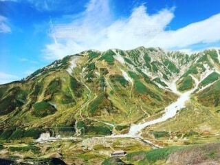 自然,風景,空,屋外,緑,カラフル,雲,青空,青い空,山,景色,登山,テント,立山,氷河,山登り,山肌,立山連峰,カール,山景,山好き