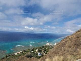 自然,風景,海,空,屋外,湖,ビーチ,雲,晴れ,島,青,虹,水面,海岸,山,景色,ハワイ,眺め,日中,海洋地形