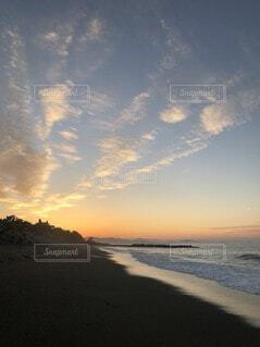 海,空,雲,綺麗,砂浜,夕焼け,幻想的,海岸,オレンジ