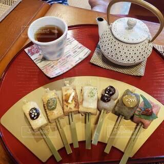 お茶屋さんでのお茶と田楽の写真・画像素材[4638432]