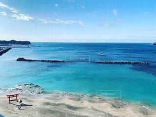 自然,風景,海,空,屋外,青,砂浜,鳥居,水面,海岸