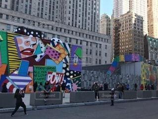 空,建物,屋外,海外,カラフル,道路,アート,高層ビル,写真,NYC