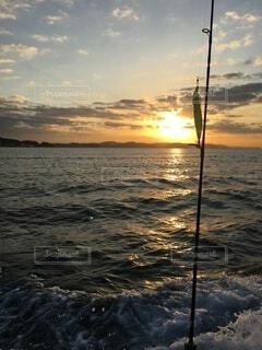 自然,海,空,屋外,水面,反射,釣り,日の出