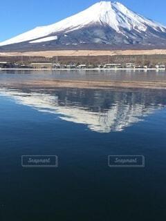 空,富士山,屋外,湖,水面,反射,逆さ富士