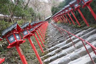 フェンスの前に大きな赤い椅子の写真・画像素材[1195486]