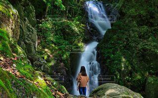 女性,1人,絶景,緑,後ろ姿,ジーンズ,景色,滝,観光,岩,新緑,渓谷,渓流,流れ,巨大,ヒーリング,セラピー,眺める,落差