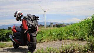 空,屋外,スクーター,バイク,風車,草,ツーリング,オートバイ,ソロツーリング