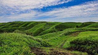 自然,風景,空,絶景,屋外,緑,草原,雲,青空,観光地,山,草,丘,旅行,熊本,阿蘇,草木