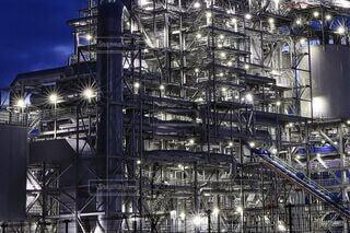建物,夜景,夕暮れ,工場,工場夜景,北九州,工場地帯,エネルギー,白色灯,苅田町,バイオマス,臨海地帯