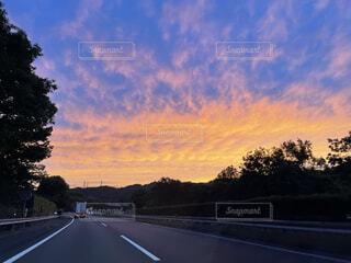 風景,空,屋外,雲,道路,樹木,道,マジックアワー,ダイナミック
