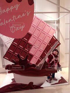 屋内,女の子,バレンタインデー,でっかいチョコ