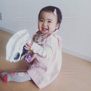 笑顔,赤ちゃん,ニコニコ,袋大好き,1才児