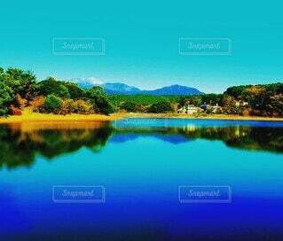 自然,風景,湖,晴れ,水面,山,景色,反射,樹木
