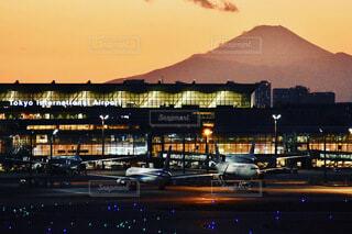 空,富士山,東京,飛行機,山,日没,空港,航空機