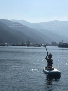 自然,空,屋外,湖,ボート,船,水面,山,水上バイク,サップ