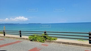 海を見下ろすベンチに座っている人の写真・画像素材[4709671]