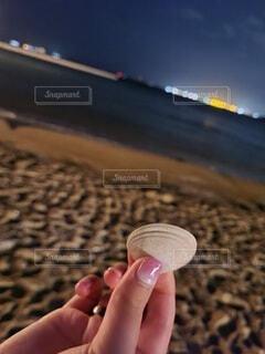 海,手,貝殻,浜辺,持株