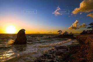 自然,風景,空,屋外,ビーチ,雲,夕暮れ,水面
