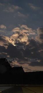 自然,風景,空,雲,暗い,月,かくれんぼ