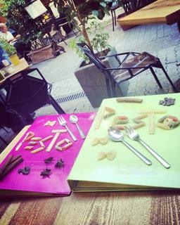 かわいい,テラス,メニュー,レストラン,ギリシャ,アテネ