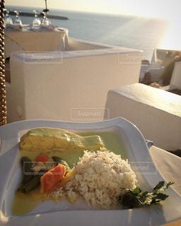 夕日,ディナー,魚,サントリーニ島,レストラン,ギリシャ,地中海,サントリーニ