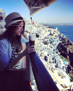 カフェ,サントリーニ島,カフェラテ,ギリシャ,地中海,サントリーニ,Santorini,Greece,Oia,イア,白と青の世界