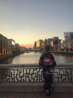 夕日と私。の写真・画像素材[1421967]