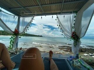 海,空,花,屋外,ビーチ,ボート,水面,人物,人
