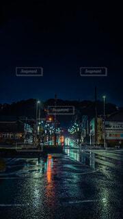 風景,夜,雨,駅,暗い,リフレクション,街路灯