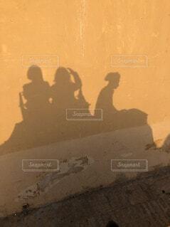 土色砂漠の大地を旅する旅人と象 象乗り体験 インドの写真・画像素材[4661960]