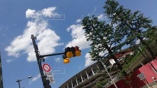 空,屋外,看板,雲,樹木,明るい,テキスト,街路灯,トラフィック ライト